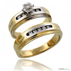 14k Gold 2-Piece Diamond Ring Set w/ Rhodium Accent ( Engagement Ring & Man's Wedding Band ), w/ 0.23 Carat Brilliant Cut