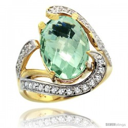 14k Gold Natural Green Amethyst Ring Oval 14x10 Diamond Accent, 3/4 in wide