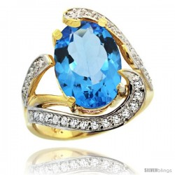 14k Gold Natural Swiss Blue Topaz Ring Oval 14x10 Diamond Accent, 3/4 in wide