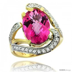14k Gold Natural Pink Topaz Ring Oval 14x10 Diamond Accent, 3/4 in wide