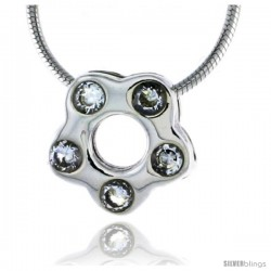 "High Polished Sterling Silver 7/16"" (11 mm) tall Flower Pendant Slide, w/ Five 2mm Brilliant Cut CZ Stones, w/ 18"" Thin Box"