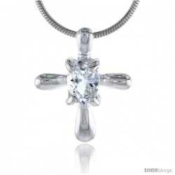 "High Polished Sterling Silver 3/4"" (19 mm) tall Cross Pendant Slide, w/ 7x5mm Oval Cut CZ Stone, w/ 18"" Thin Box Chain"