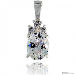 "Sterling Silver Oval-shaped April Birthstone CZ Pendant, w/ Brilliant Cut & 9x7mm Oval Cut Clear Stones, w/ 18"" Thin Box Chain"
