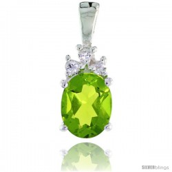 Sterling Silver Oval-shaped August Birthstone CZ Pendant, w/ 9x7mm Oval Cut Peridot-colored Stone & Brilliant Cut Clear Stones