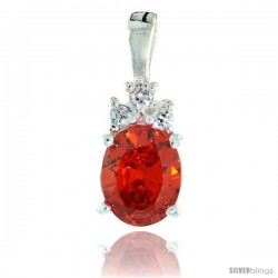 Sterling Silver Oval-shaped CZ Pendant, w/ 9x7mm Oval Cut Orange Sapphire-colored Stone & Brilliant Cut Clear Stones, w/ 18""