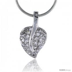 "High Polished Sterling Silver 3/4"" (19 mm) tall Heart Pendant, w/ 1.5mm Brilliant Cut CZ Stones, w/ 18"" Thin Box Chain"