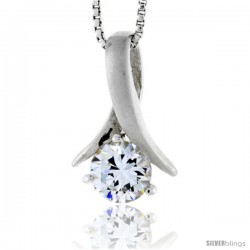"High Polished Sterling Silver 3/4"" (19 mm) tall Freeform Pendant, w/ 7mm Brilliant Cut CZ Stone, w/ 18"" Thin Box Chain"
