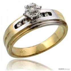 14k Gold Diamond Engagement Ring w/ Rhodium Accent, w/ 0.13 Carat Brilliant Cut Diamonds, 1/4 in. (6mm) wide