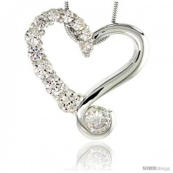 "Sterling Silver Graduated Journey Heart Pendant w/ 12 High Quality CZ Stones, 7/8"" (22 mm) tall"
