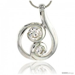 "Sterling Silver Spiral-inspired Pendant w/ 5mm & 6mm High Quality CZ Stones, 1"" (25 mm) tall"