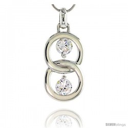 "Sterling Silver Overlapping Circles Pendant w/ 6mm High Quality CZ Stones, 1 1/8"" (29 mm) tall"