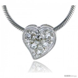 "High Polished Sterling Silver 3/8"" (9 mm) tall Teeny Heart Pendant Slide, w/ Six 2mm Brilliant Cut CZ Stones, w/ 18"" Thin Box"