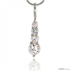 "Sterling Silver Graduated Journey Pendant w/ 4 High Quality CZ Stones, 3/4"" (19 mm) tall"