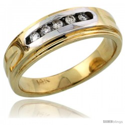 14k Gold Ladies' Diamond Band w/ Rhodium Accent, w/ 0.10 Carat Brilliant Cut Diamonds, 1/4 in. (6mm) wide