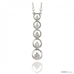 "Sterling Silver Graduated Journey Pendant w/ 5 High Quality CZ Stones, 1 7/8"" (48 mm) tall"