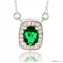 "Sterling Silver Journey Pendant w/ 9x7mm Oval Cut Synthetic Emerald & High Quality CZ Stones, 9/16"" (15 mm) tall"