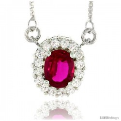 "Sterling Silver Journey Pendant w/ 9x7mm Oval Cut Synthetic Ruby & High Quality CZ Stones, 9/16"" (14 mm) tall"