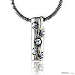 "High Polished Sterling Silver 9/16"" (14 mm) tall Tubular Pendant, w/ Five 2mm Brilliant Cut CZ Stones, w/ 18"" Thin Box Chain"