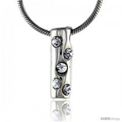 "High Polished Sterling Silver 9/16"" (14 mm) tall Tubular Pendant, w/ Five 2mm Brilliant Cut CZ Stones, w/ 18"" Thin Box Chain"