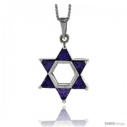 "High Polished Sterling Silver 1"" (25 mm) tall Jewish Star of David Pendant, w/ Six 5mm Trillion Amethyst-colored CZ Stones"