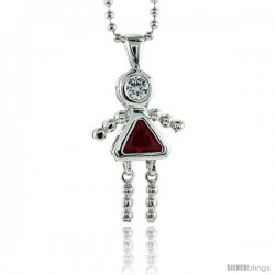 Sterling Silver July Birthstone Baby Brat Girl Pendant w/ Ruby Color Cubic Zirconia