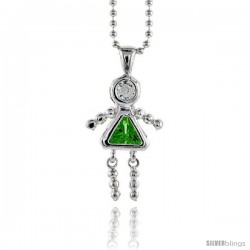 Sterling Silver August Birthstone Baby Brat Girl Pendant w/ Peridot Color Cubic Zirconia