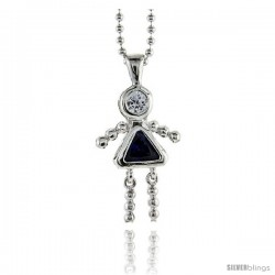 Sterling Silver September Birthstone Baby Brat Girl Pendant w/ Blue Sapphire Color Cubic Zirconia
