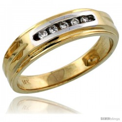 14k Gold Men's Diamond Band w/ Rhodium Accent, w/ 0.10 Carat Brilliant Cut Diamonds, 1/4 in. (6mm) wide