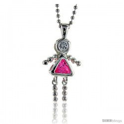 Sterling Silver October Birthstone Baby Brat Girl Pendant w/ Pink Tourmaline Color Cubic Zirconia