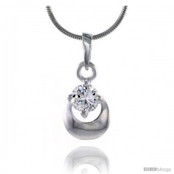 "High Polished Sterling Silver 5/8"" (16 mm) tall Matte-finish Fancy Loop Pendant, w/ 5mm Brilliant Cut CZ Stone, w/ 18"" Thin Box"