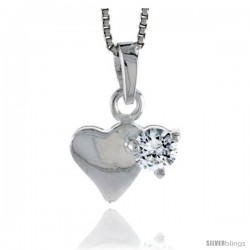 "High Polished Sterling Silver 9/16"" (14 mm) tall Heart Pendant, w/ 5mm Brilliant Cut CZ Stone, w/ 18"" Thin Box Chain"