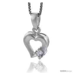 "High Polished Sterling Silver 5/8"" (16 mm) tall Fancy Heart Cut Out Pendant, w/ 4mm Brilliant Cut CZ Stone, w/ 18"" Thin Box"