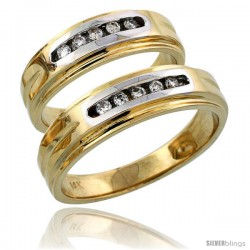 14k Gold 2-Piece His (6mm) & Hers (6mm) Diamond Wedding Band Set w/ Rhodium Accent, w/ 0.20 Carat Brilliant Cut Diamonds