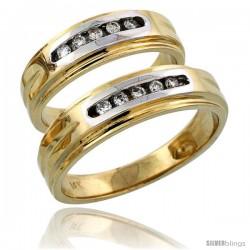 14k Gold 2-Piece His (6mm) & Hers (6mm) Diamond Wedding Band Set w/ Rhodium Accent, w/ 0.20 Carat Brilliant Cut Diamonds