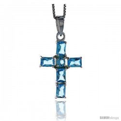 "High Polished Sterling Silver 1 1/8"" (29 mm) tall Cross Pendant, w/ one 4mm Brilliant Cut & five 6x4mm Emerald Cut Blue"
