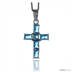 "High Polished Sterling Silver 1 1/8"" (29 mm) tall Cross Pendant, w/ one 4mm Brilliant Cut & five 6x4mm Emerald Cut Blue"