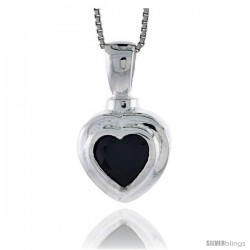 "High Polished Sterling Silver 1"" (26 mm) tall Heart Pendant, w/ 9x9mm Amethyst-colored CZ Stone, w/ 18"" Thin Box Chain"