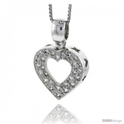 "High Polished Sterling Silver 3/4"" (18 mm) tall Heart Cut Out Pendant, w/ Brilliant Cut CZ Stones, w/ 18"" Thin Box Chain"