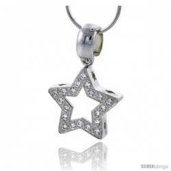 "High Polished Sterling Silver 13/16"" (21 mm) tall Star Cut Out Pendant, w/ 1.5mm Brilliant Cut CZ Stones, w/ 18"" Thin Box Chain"