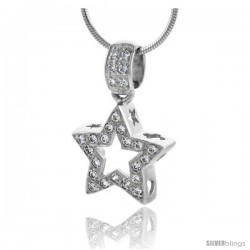 "High Polished Sterling Silver 11/16"" (17 mm) tall Star Cut Out Pendant, w/ 1.5mm Brilliant Cut CZ Stones, w/ 18"" Thin Box Chain"