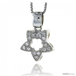 "High Polished Sterling Silver 11/16"" (17 mm) tall Starfish Cut Out Pendant, w/ Brilliant Cut CZ Stones, w/ 18"" Thin Box Chain"