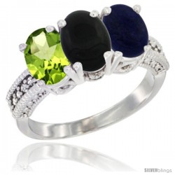 10K White Gold Natural Peridot, Black Onyx & Lapis Ring 3-Stone Oval 7x5 mm Diamond Accent