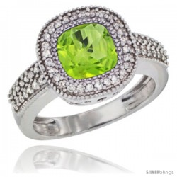 10K White Gold Natural Peridot Ring Cushion-cut 7x7 Stone Diamond Accent