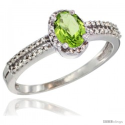 10K White Gold Natural Peridot Ring Oval 6x4 Stone Diamond Accent -Style Cw911178