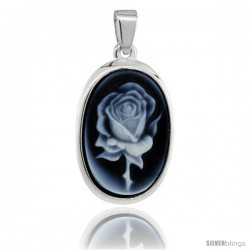 Sterling Silver Natural Blue Agate Cameo Rose Pendant 18x13mm