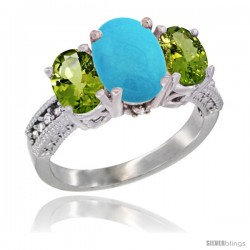 10K White Gold Ladies Natural Turquoise Oval 3 Stone Ring with Peridot Sides Diamond Accent