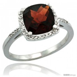 Sterling Silver Diamond Natural Garnet Ring 2.08 ct Cushion cut 8 mm Stone 1/2 in wide