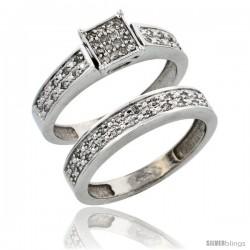 14k White Gold 2-Piece Diamond Engagement Ring Set, w/ 0.24 Carat Brilliant Cut Diamonds, 5/32 in. (4mm) wide -Style Ljw203e2