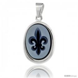 Sterling Silver Natural Blue Agate Cameo Fleur de Lis Pendant 14x10mm