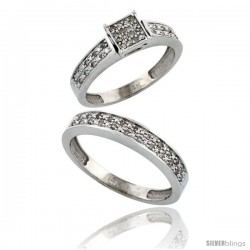 14k White Gold 2-Piece Diamond Ring Set ( Engagement Ring & Man's Wedding Band ), w/ 0.24 Carat Brilliant Cut -Style Ljw203em